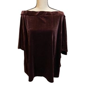 City Chic Velvet Maroon Off The Shoulder Top NWT